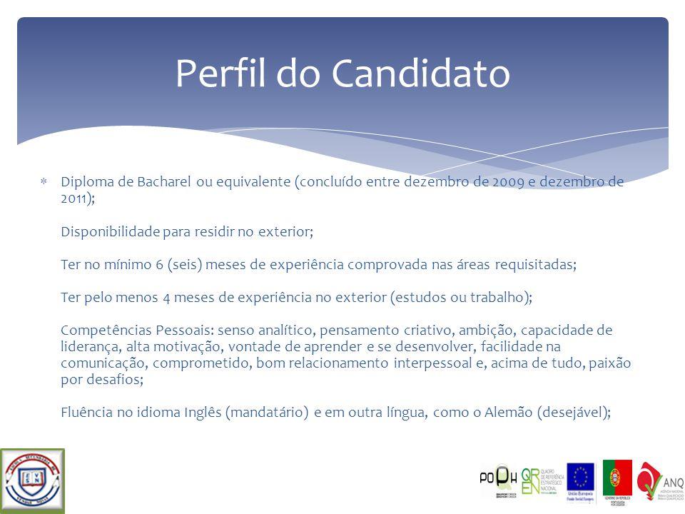 Diploma de Bacharel ou equivalente (concluído entre dezembro de 2009 e dezembro de 2011); Disponibilidade para residir no exterior; Ter no mínimo 6 (s