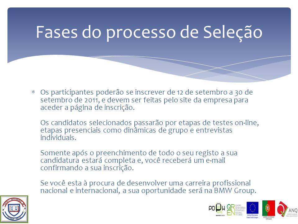 Os participantes poderão se inscrever de 12 de setembro a 30 de setembro de 2011, e devem ser feitas pelo site da empresa para aceder a página de insc