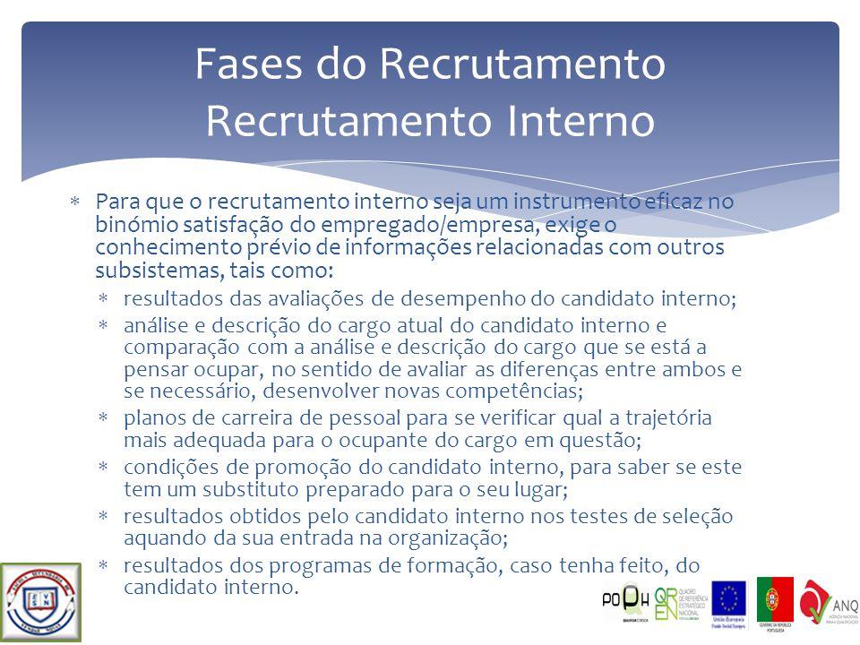Para que o recrutamento interno seja um instrumento eficaz no binómio satisfação do empregado/empresa, exige o conhecimento prévio de informações rela