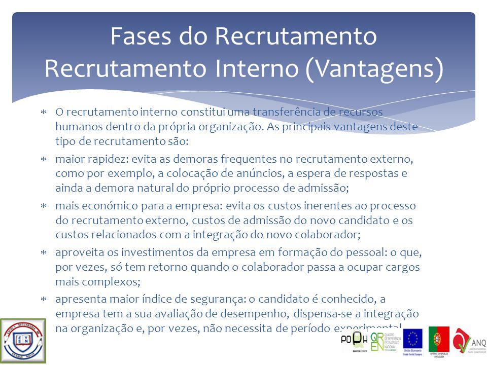 O recrutamento interno constitui uma transferência de recursos humanos dentro da própria organização. As principais vantagens deste tipo de recrutamen