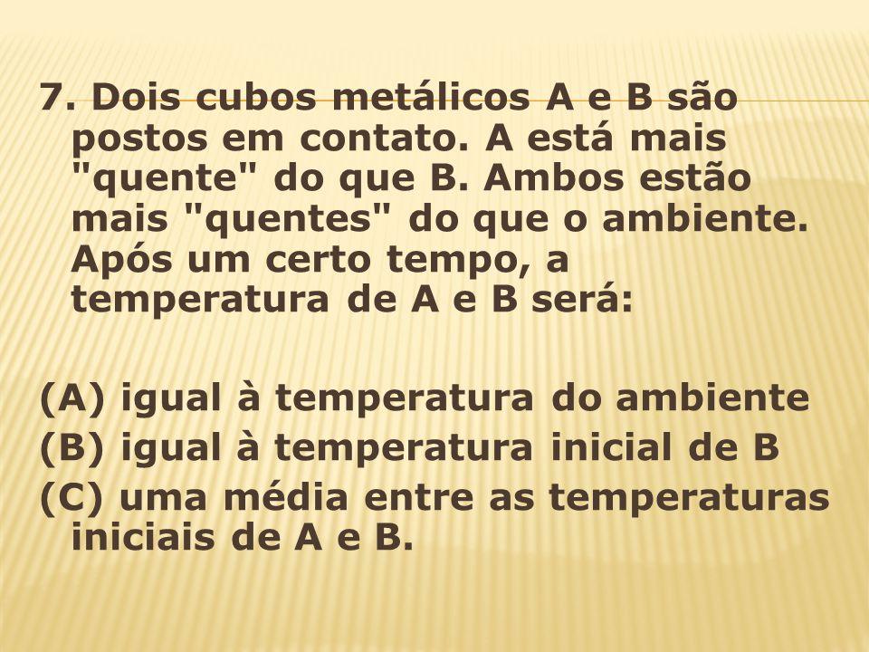 7. Dois cubos metálicos A e B são postos em contato. A está mais