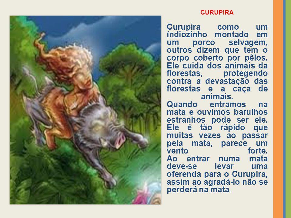 CURUPIRA Curupira como um índiozinho montado em um porco selvagem, outros dizem que tem o corpo coberto por pêlos. Ele cuida dos animais da florestas,