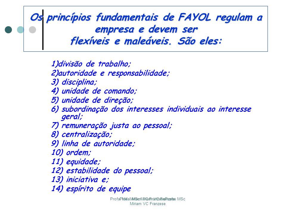 Profa. Me. Miriam VC FranzeseProfa. MSc Míriam VC Franzese Profa. MSc Míriam VC Franzese Os princípios fundamentais de FAYOL regulam a empresa e devem
