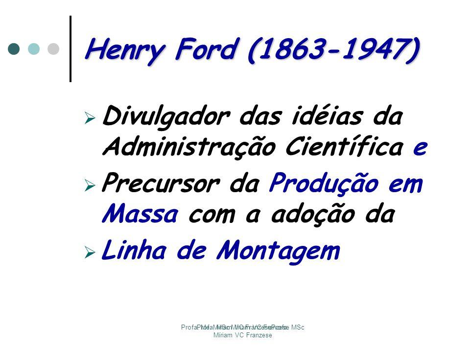 Profa. Me. Miriam VC FranzeseProfa. MSc Míriam VC Franzese Profa. MSc Míriam VC Franzese Henry Ford (1863-1947) Divulgador das idéias da Administração