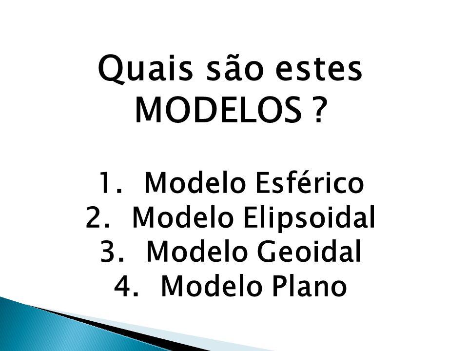 Quais são estes MODELOS ? 1.Modelo Esférico 2.Modelo Elipsoidal 3.Modelo Geoidal 4.Modelo Plano