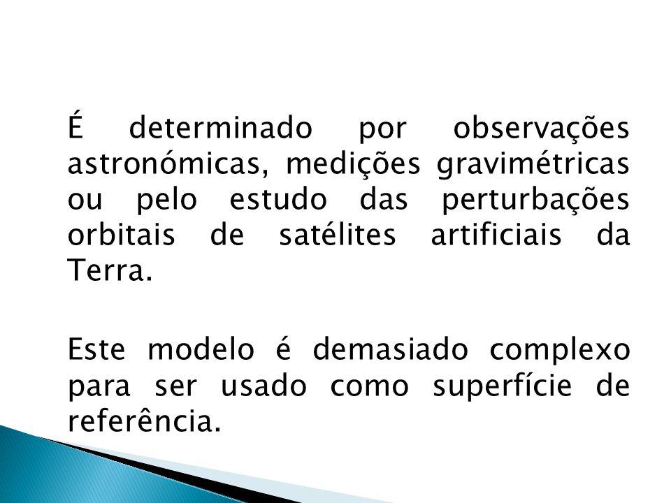 É determinado por observações astronómicas, medições gravimétricas ou pelo estudo das perturbações orbitais de satélites artificiais da Terra. Este mo