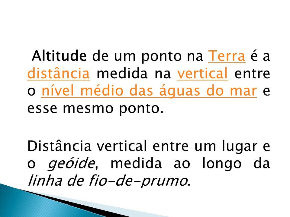 Altitude de um ponto na Terra é a distância medida na vertical entre o nível médio das águas do mar e esse mesmo ponto.Terra distânciaverticalnível mé