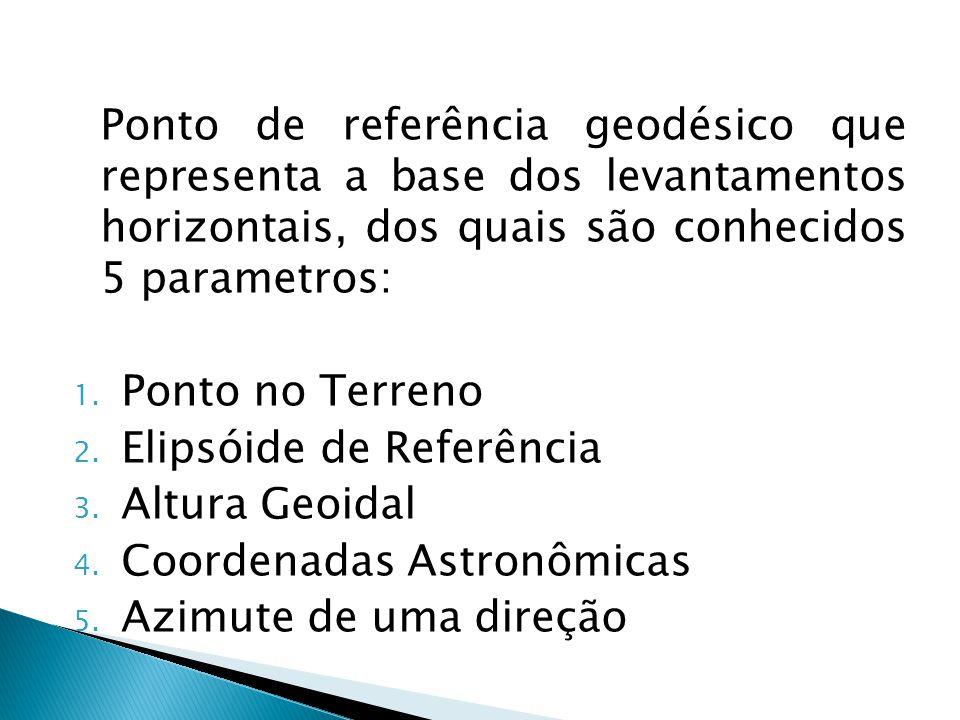 Ponto de referência geodésico que representa a base dos levantamentos horizontais, dos quais são conhecidos 5 parametros: 1. Ponto no Terreno 2. Elips