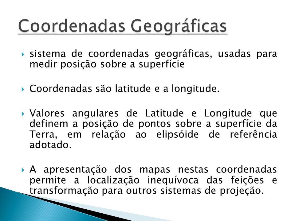 sistema de coordenadas geográficas, usadas para medir posição sobre a superfície Coordenadas são latitude e a longitude. Valores angulares de Latitude