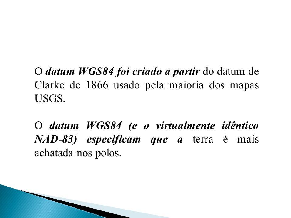 O datum WGS84 foi criado a partir do datum de Clarke de 1866 usado pela maioria dos mapas USGS. O datum WGS84 (e o virtualmente idêntico NAD-83) espec