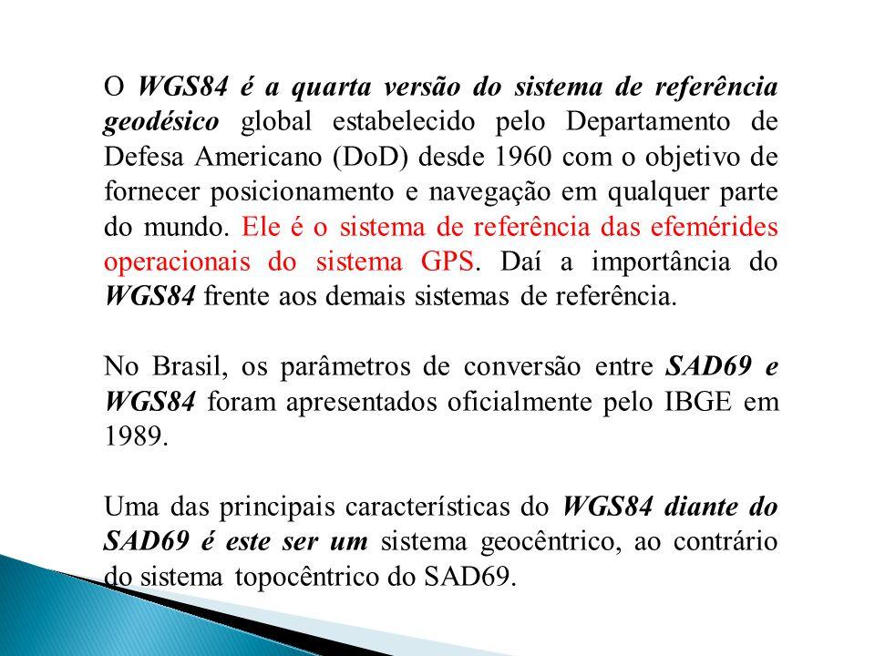 O WGS84 é a quarta versão do sistema de referência geodésico global estabelecido pelo Departamento de Defesa Americano (DoD) desde 1960 com o objetivo