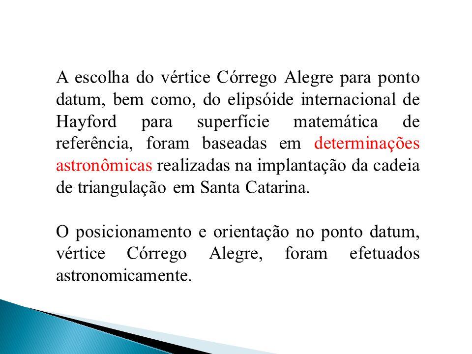 A escolha do vértice Córrego Alegre para ponto datum, bem como, do elipsóide internacional de Hayford para superfície matemática de referência, foram