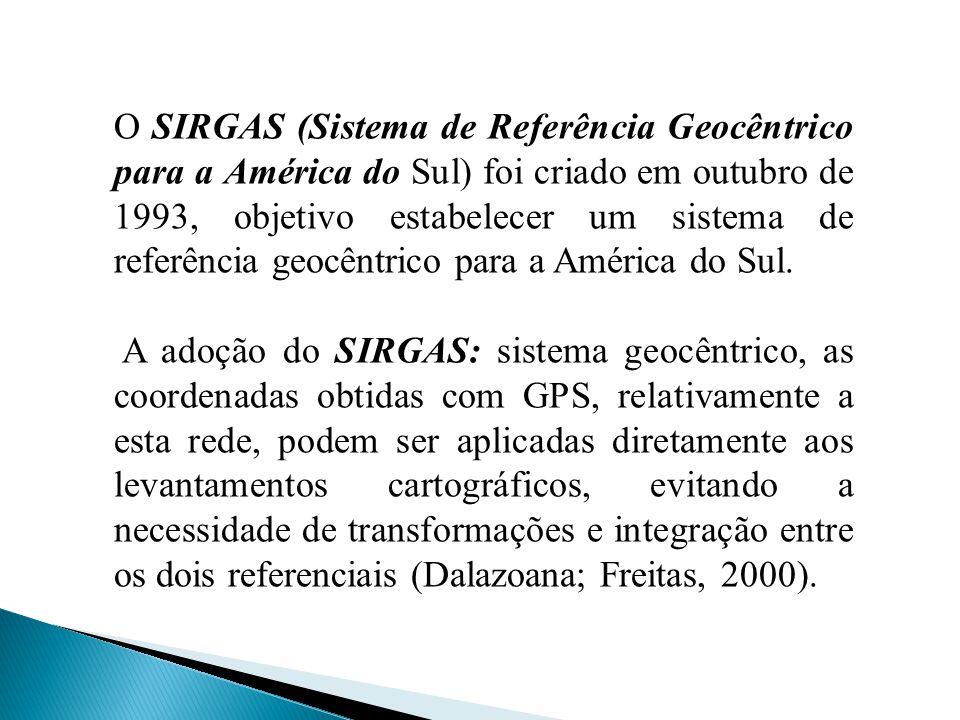 O SIRGAS (Sistema de Referência Geocêntrico para a América do Sul) foi criado em outubro de 1993, objetivo estabelecer um sistema de referência geocên