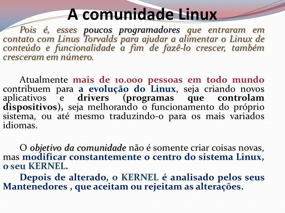 A comunidade Linux Pois é, esses poucos programadores que entraram em contato com Linus Torvalds para ajudar a alimentar o Linux de conteúdo e funcionalidade a fim de fazê-lo crescer, também cresceram em número.