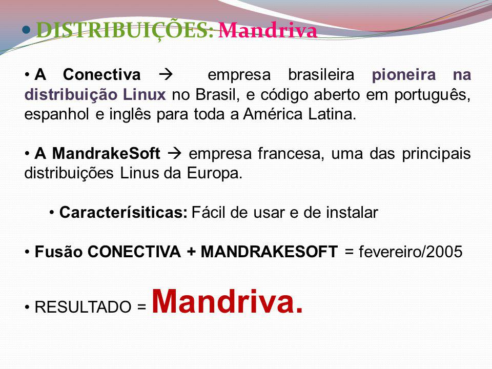 DISTRIBUIÇÕES: Mandriva A Conectiva empresa brasileira pioneira na distribuição Linux no Brasil, e código aberto em português, espanhol e inglês para toda a América Latina.