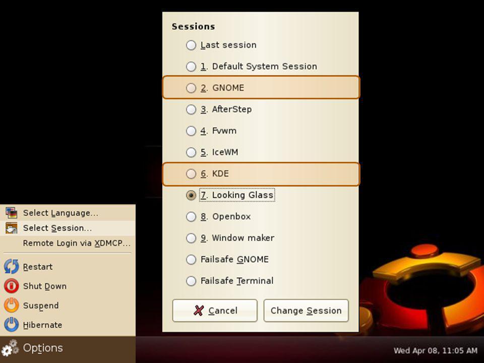 Gerenciador de Janelas A ESCOLHA do AMBIENTE GRÁFICO que será utilizado pode ser feita na TELA DE LOGON, por meio do botão SESSÃO que permitirá ao usuário escolher se deseja utilizar o KDE ou o Gnome (ou qualquer outro que esteja instalado no Linux).