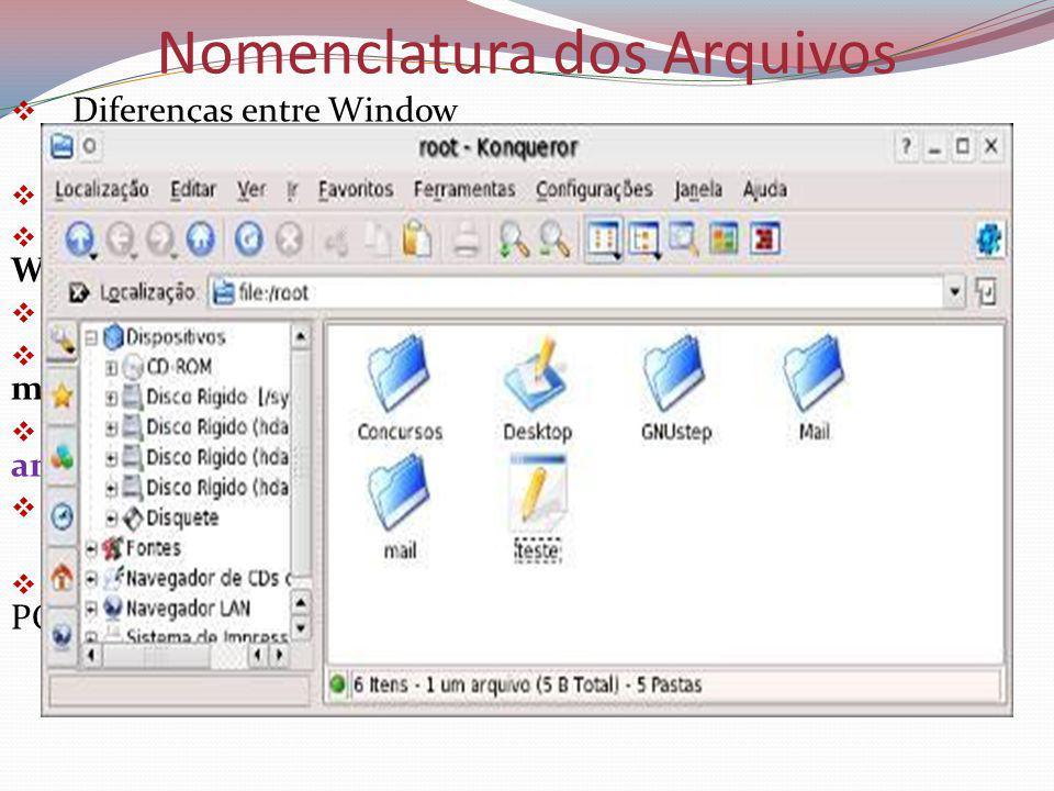 Nomenclatura dos Arquivos Diferenças entre Window Podem ter 255 caracteres nos nomes.