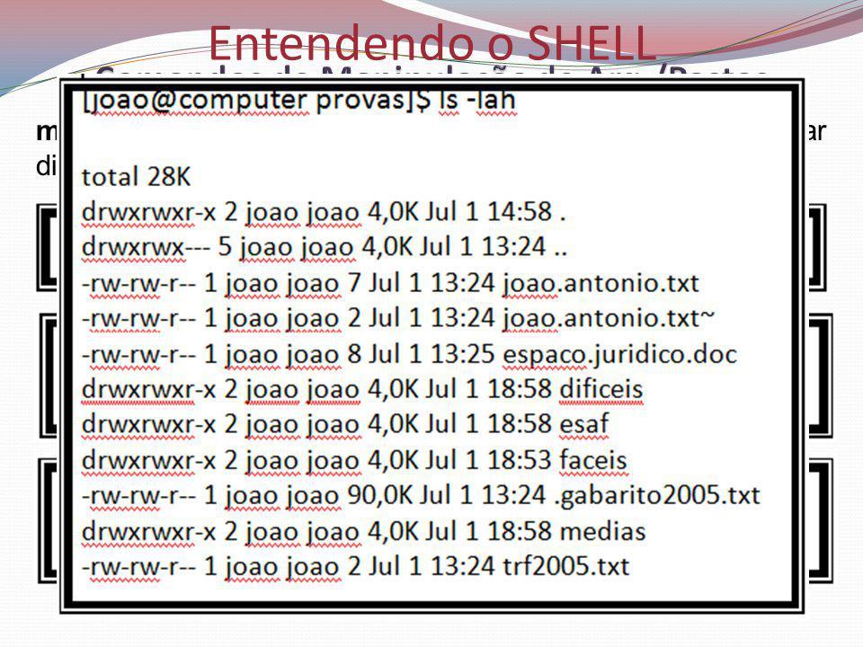 Entendendo o SHELL mkdir (Make Directory - Criar Diretório): usado para criar diretórios.