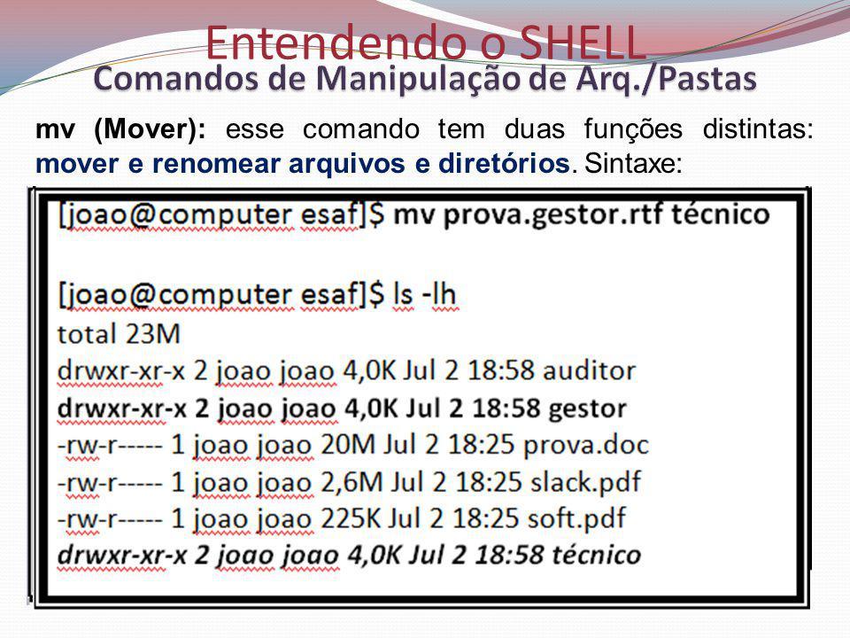 Entendendo o SHELL mv (Mover): esse comando tem duas funções distintas: mover e renomear arquivos e diretórios.