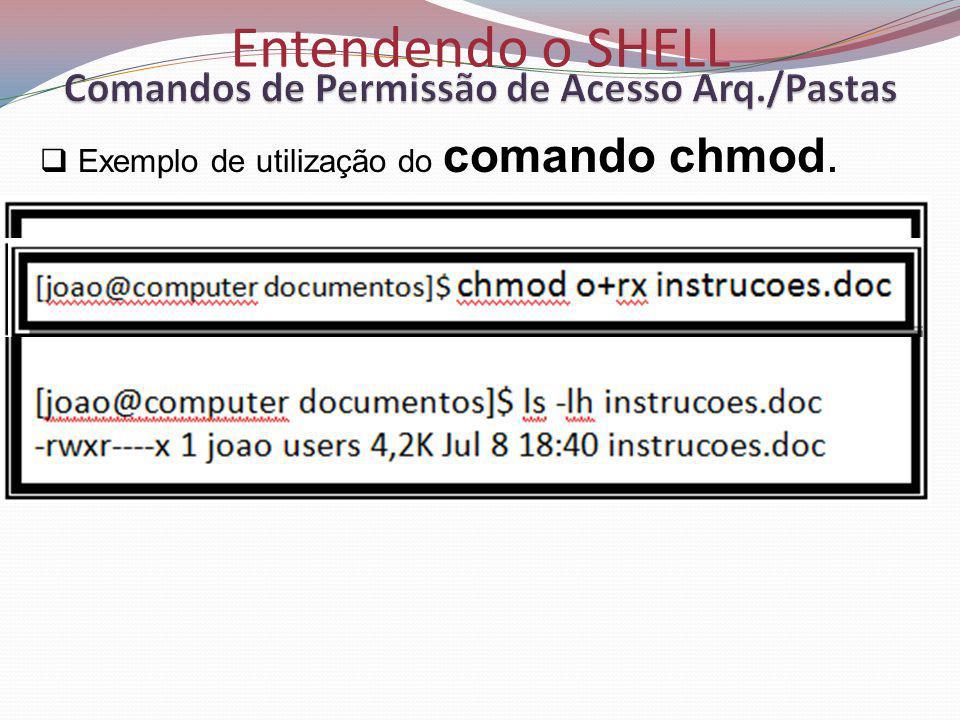 Entendendo o SHELL Exemplo de utilização do comando chmod.