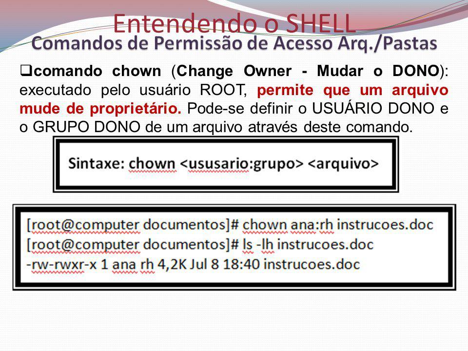 Entendendo o SHELL comando chown (Change Owner - Mudar o DONO): executado pelo usuário ROOT, permite que um arquivo mude de proprietário.