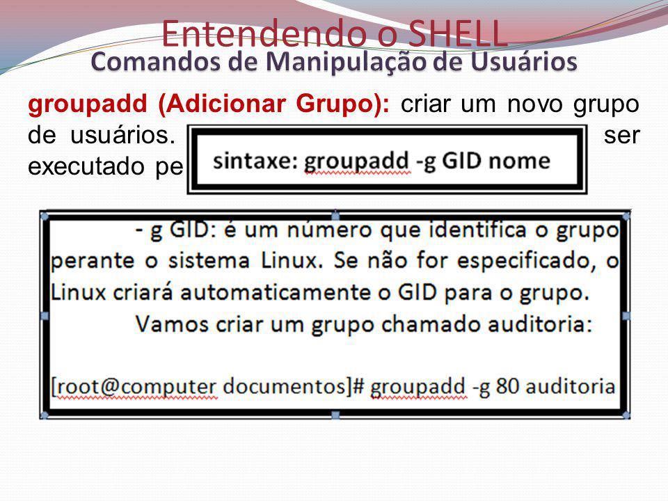 Entendendo o SHELL groupadd (Adicionar Grupo): criar um novo grupo de usuários.