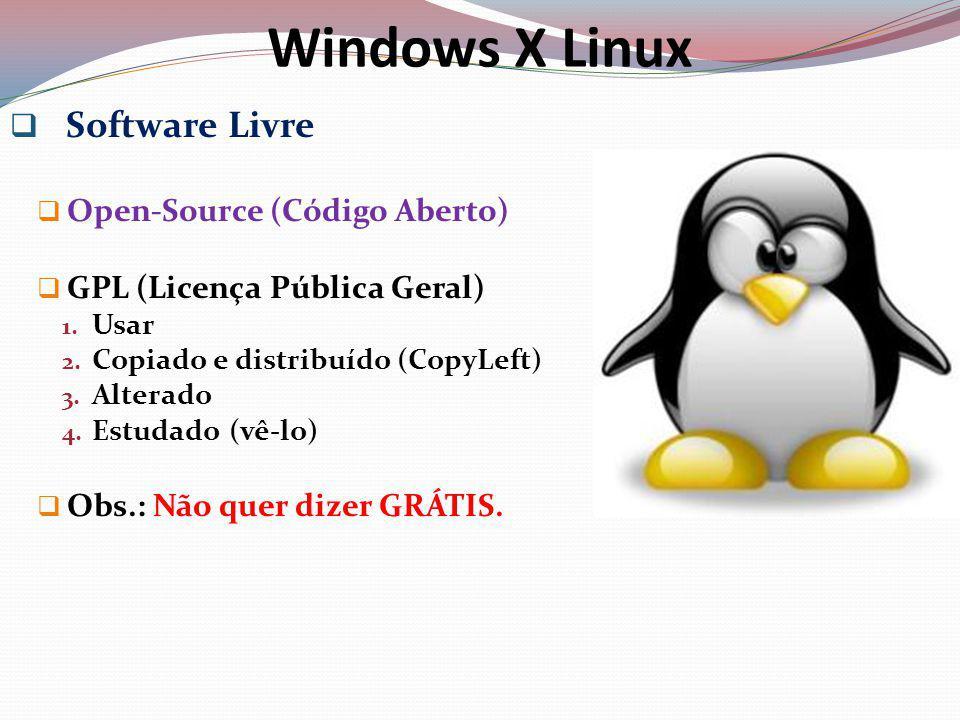 Windows X Linux Software Proprietário Lock-Source (Código Fechado) Licença de Uso por cada computador.