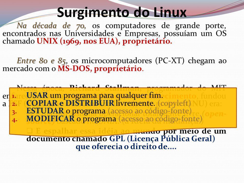 PeopleWare (Usuário)AplicativosAmbiente GráficoShell (Comandos) – Modo TextoKernel (Núcleo do S.O.)CPURAMI/O Surgimento do Linux Entre 86 e 90, Entre 86 e 90, a FSF difunde a idéia entre universidades e programadores do mundo todo.