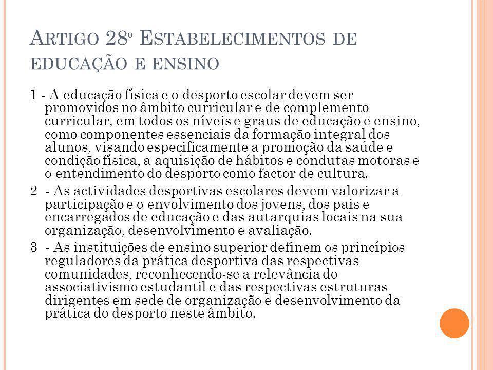 A RTIGO 28 º E STABELECIMENTOS DE EDUCAÇÃO E ENSINO 1 - A educação física e o desporto escolar devem ser promovidos no âmbito curricular e de compleme