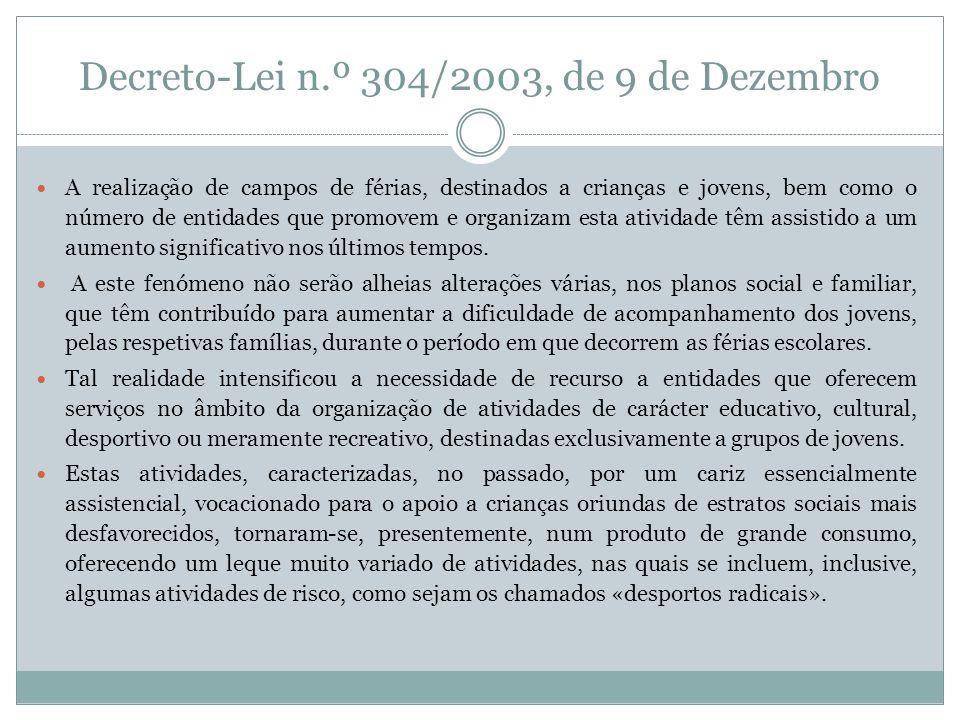 Decreto-Lei n.º 304/2003, de 9 de Dezembro A realização de campos de férias, destinados a crianças e jovens, bem como o número de entidades que promov