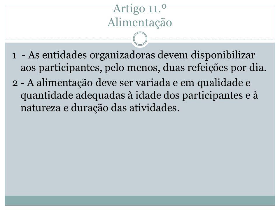 Artigo 11.º Alimentação 1 - As entidades organizadoras devem disponibilizar aos participantes, pelo menos, duas refeições por dia. 2 - A alimentação d