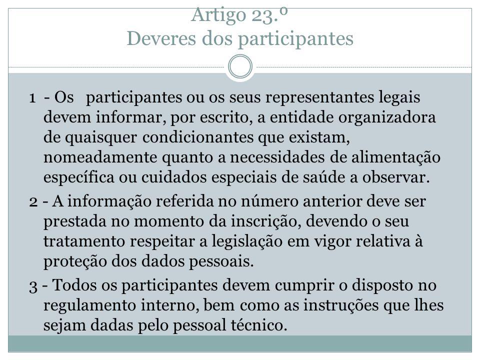 Artigo 23.º Deveres dos participantes 1 - Os participantes ou os seus representantes legais devem informar, por escrito, a entidade organizadora de qu