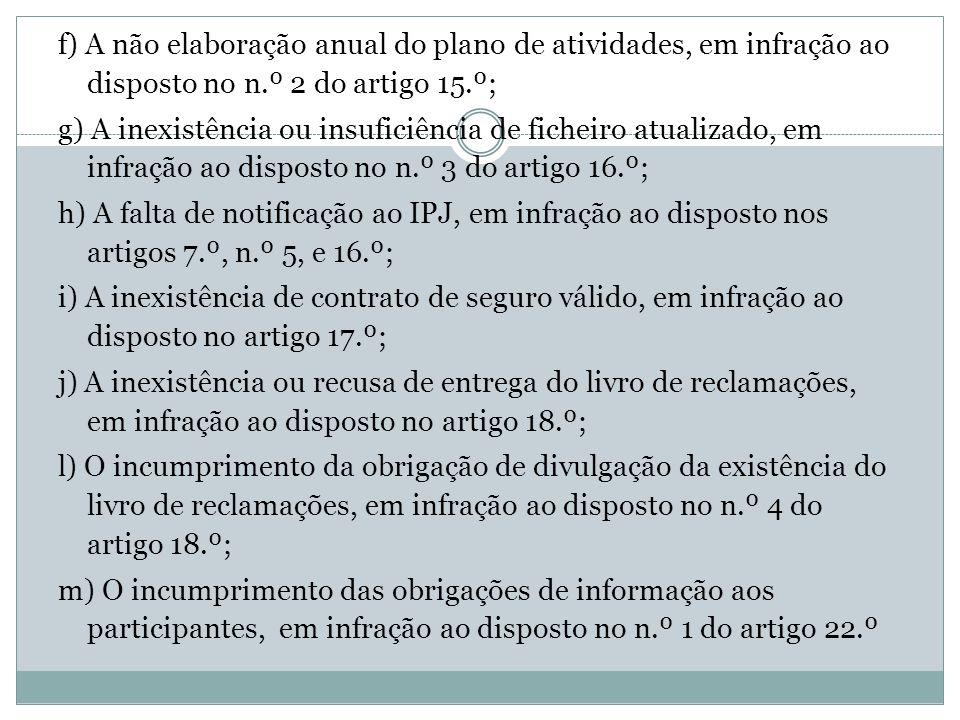 f) A não elaboração anual do plano de atividades, em infração ao disposto no n.º 2 do artigo 15.º; g) A inexistência ou insuficiência de ficheiro atua