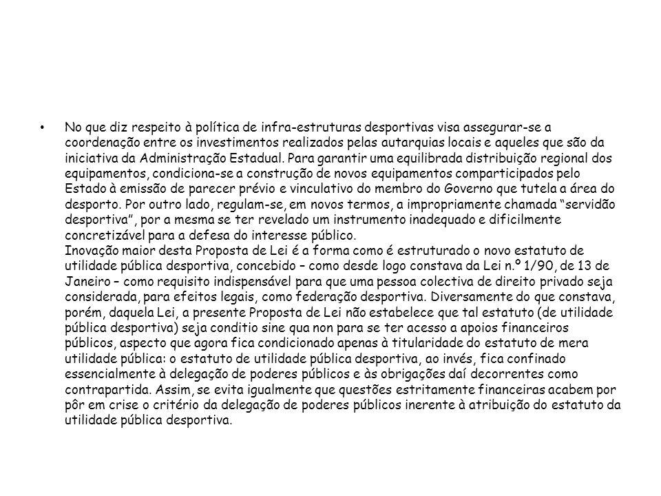 Capítulo I (Objecto) Artigo 1.º Objecto A presente lei define as bases das políticas de desenvolvimento da actividade física e do desporto.