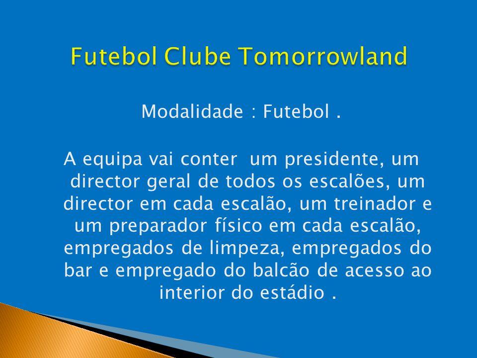Modalidade : Futebol. A equipa vai conter um presidente, um director geral de todos os escalões, um director em cada escalão, um treinador e um prepar