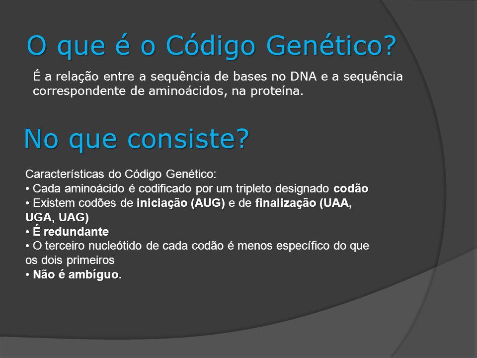 No que consiste. O que é o Código Genético.