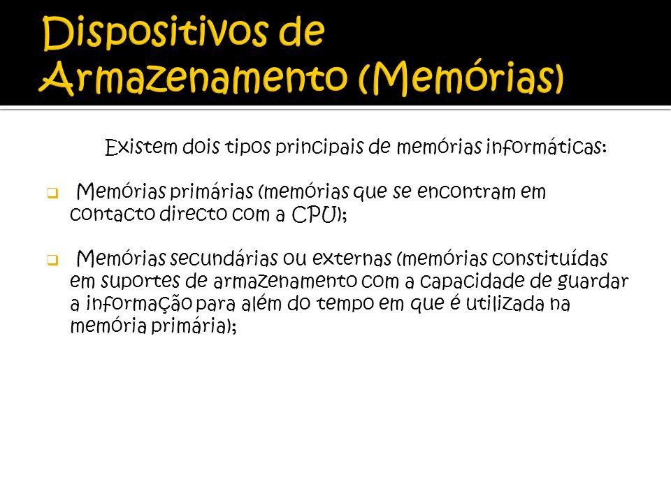 Existem dois tipos principais de memórias informáticas: Memórias primárias (memórias que se encontram em contacto directo com a CPU); Memórias secundá
