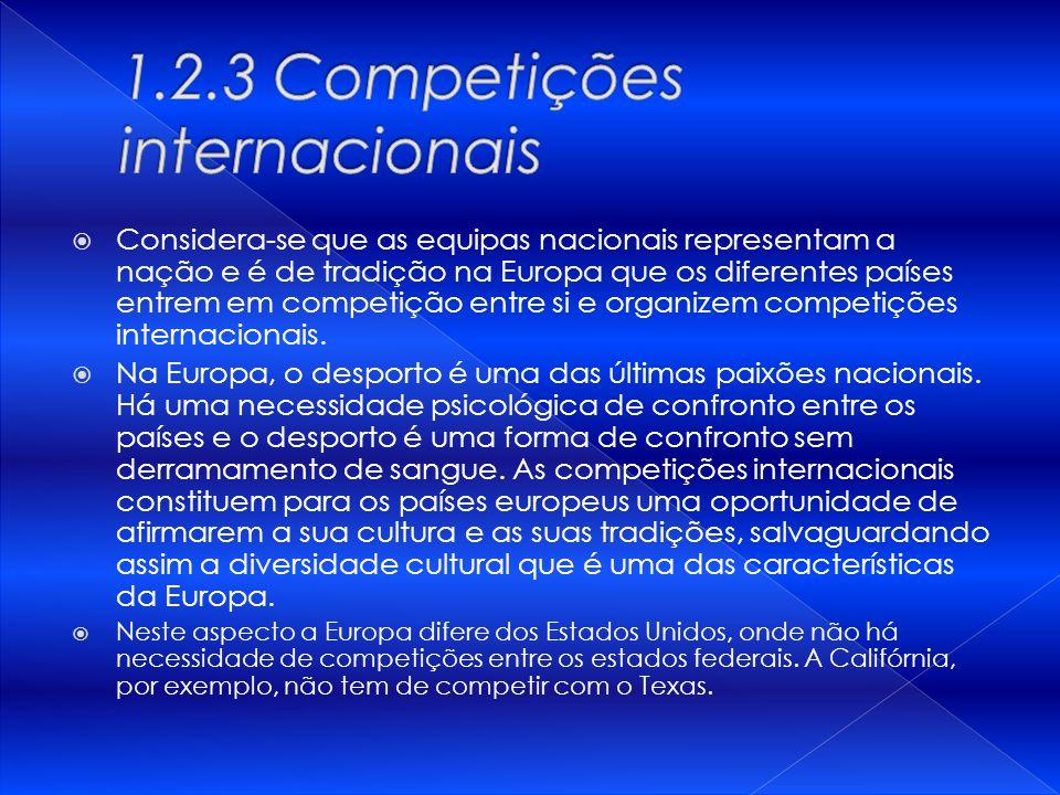 Considera-se que as equipas nacionais representam a nação e é de tradição na Europa que os diferentes países entrem em competição entre si e organizem