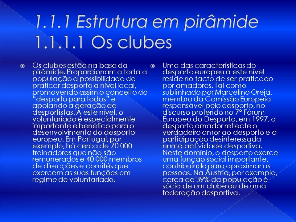 Os clubes estão na base da pirâmide. Proporcionam a toda a população a possibilidade de praticar desporto a nível local, promovendo assim o conceito d
