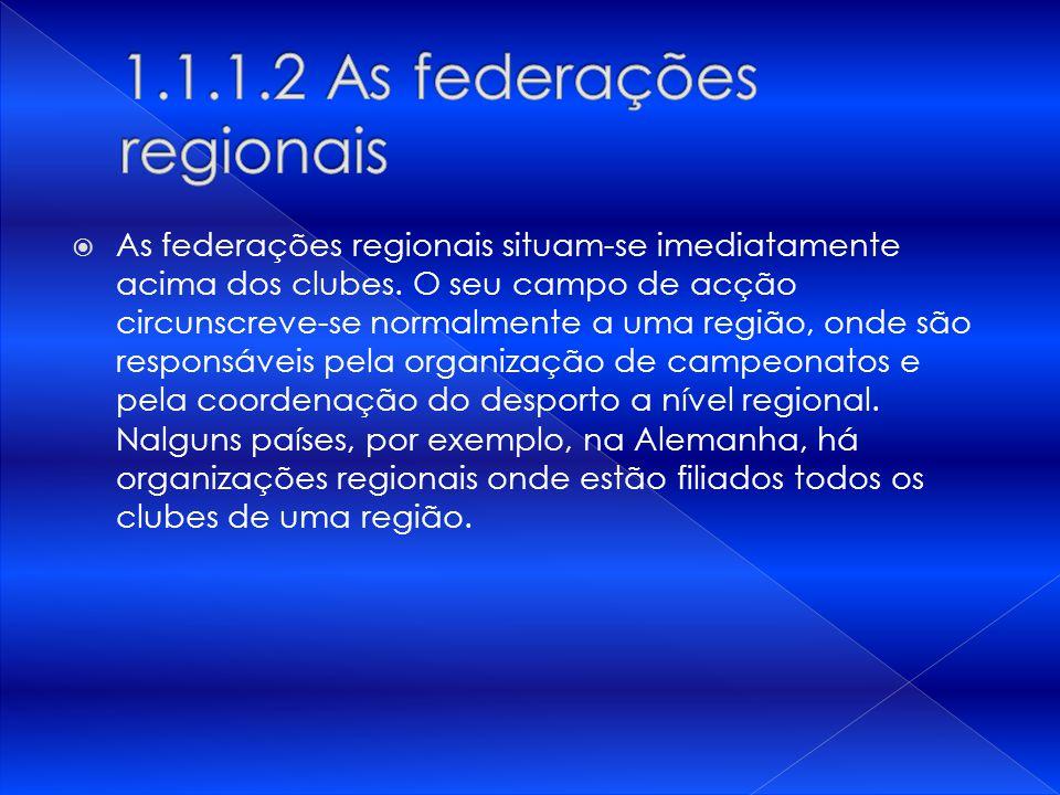As federações regionais situam-se imediatamente acima dos clubes. O seu campo de acção circunscreve-se normalmente a uma região, onde são responsáveis
