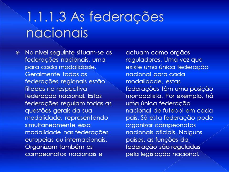 No nível seguinte situam-se as federações nacionais, uma para cada modalidade. Geralmente todas as federações regionais estão filiadas na respectiva f