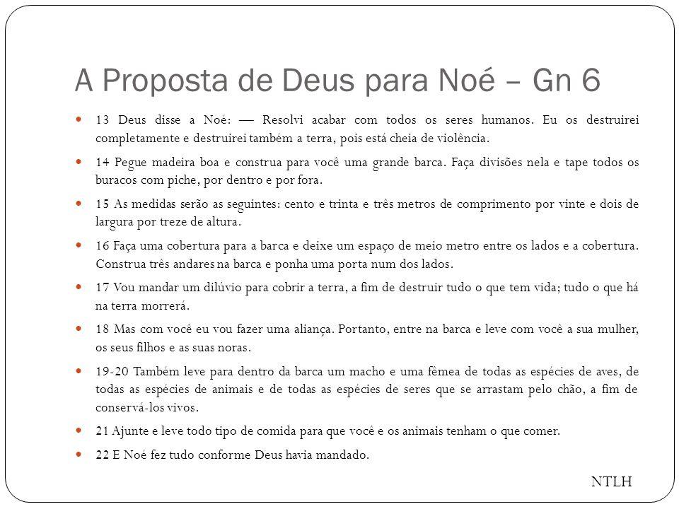 A Proposta de Deus para Noé – Gn 6 13 Deus disse a Noé: Resolvi acabar com todos os seres humanos.