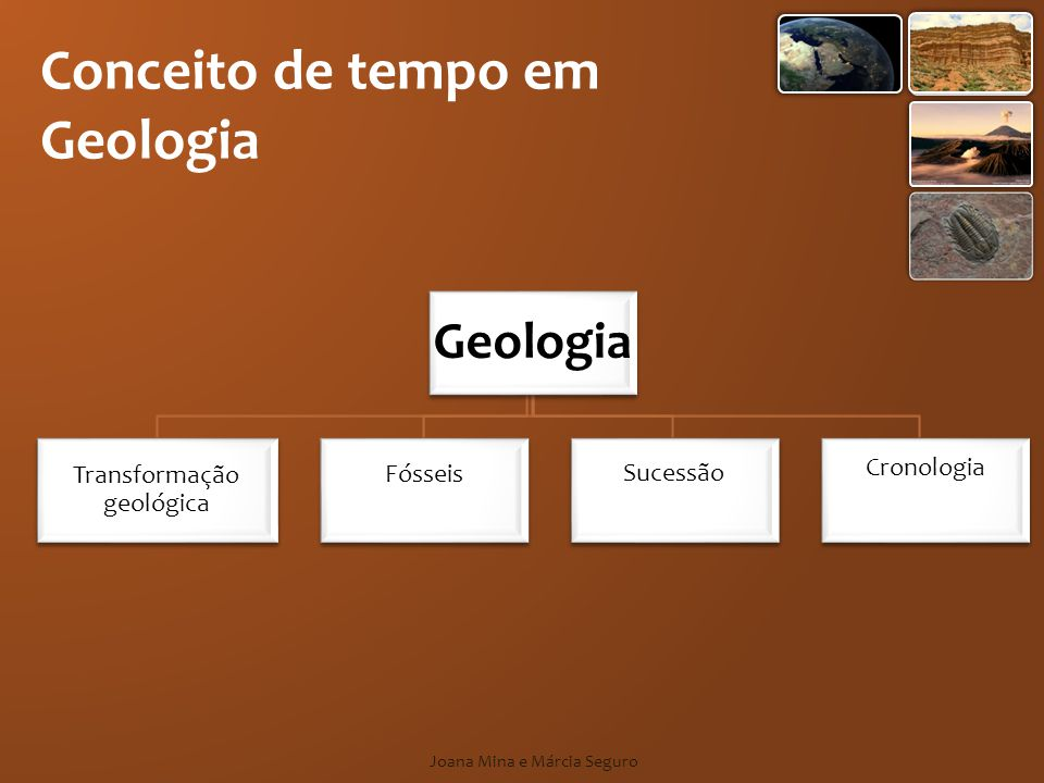 Cronologia Os aspectos cronológicos são os que apresentam uma relação mais evidente com o conceito de tempo em geologia.