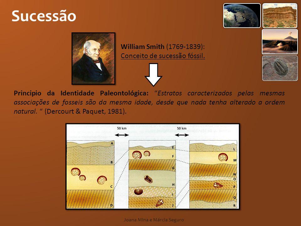 Sucessão Joana Mina e Márcia Seguro William Smith (1769-1839): Conceito de sucessão fóssil. Principio da Identidade Paleontológica: Estratos caracteri