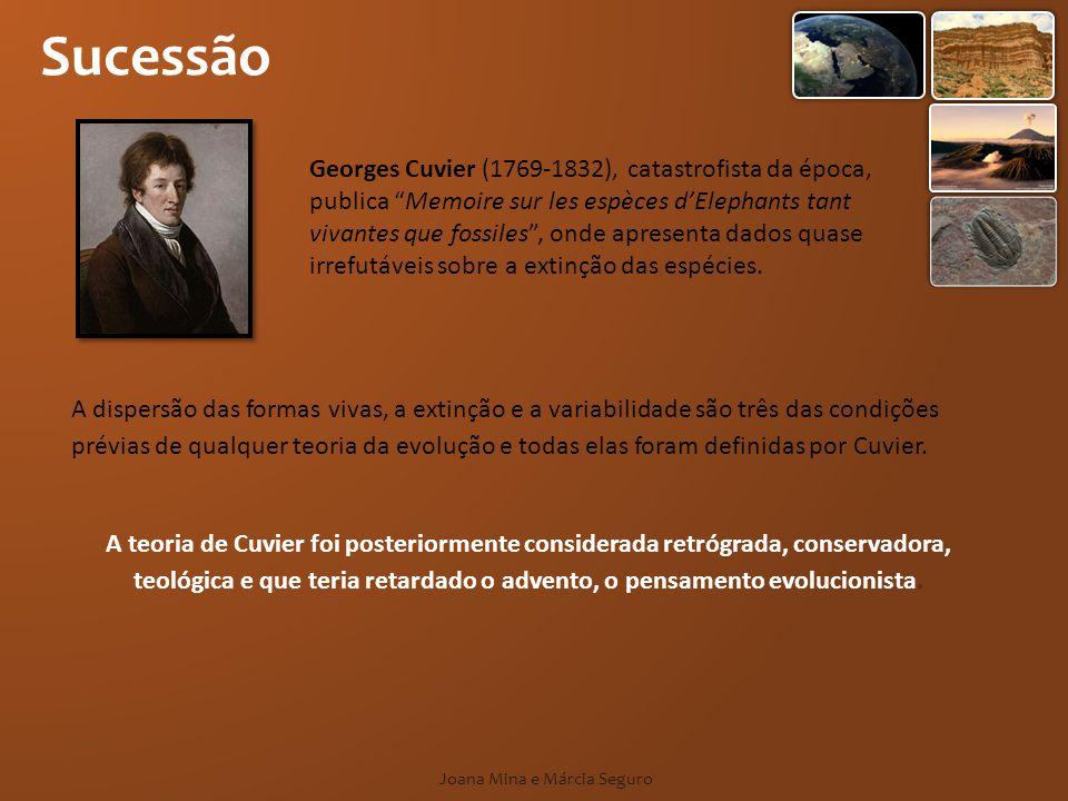 Sucessão Joana Mina e Márcia Seguro Georges Cuvier (1769-1832), catastrofista da época, publica Memoire sur les espèces dElephants tant vivantes que f