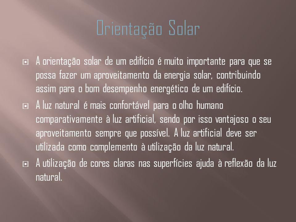 A orientação solar de um edifício é muito importante para que se possa fazer um aproveitamento da energia solar, contribuindo assim para o bom desempe