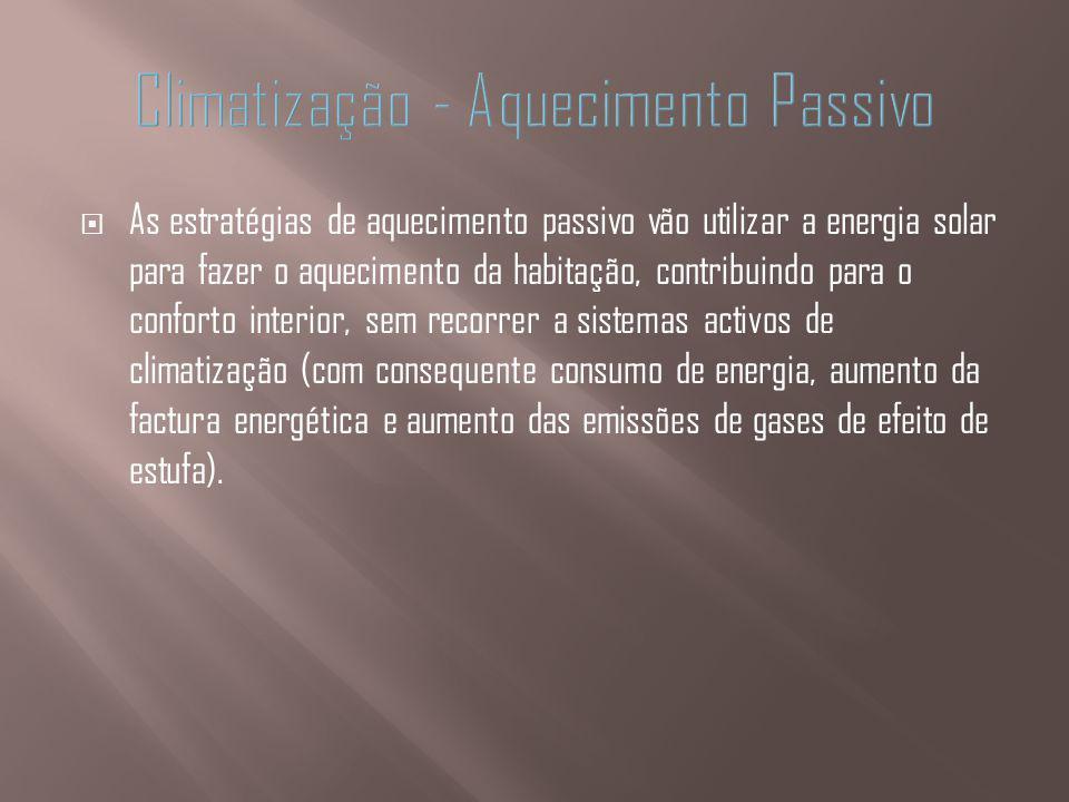 As estratégias de aquecimento passivo vão utilizar a energia solar para fazer o aquecimento da habitação, contribuindo para o conforto interior, sem r