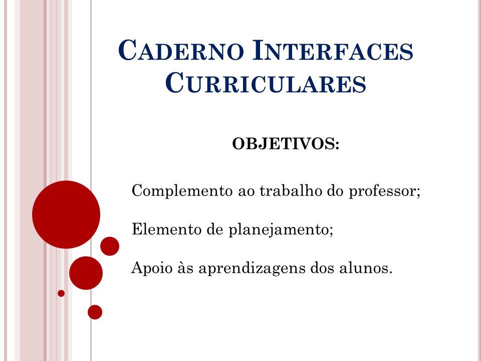 C ADERNO I NTERFACES C URRICULARES OBJETIVOS: Complemento ao trabalho do professor; Elemento de planejamento; Apoio às aprendizagens dos alunos.