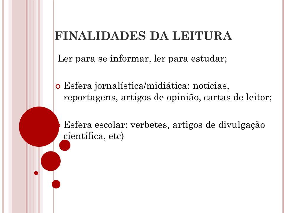 FINALIDADES DA LEITURA Ler para se informar, ler para estudar; Esfera jornalística/midiática: notícias, reportagens, artigos de opinião, cartas de lei