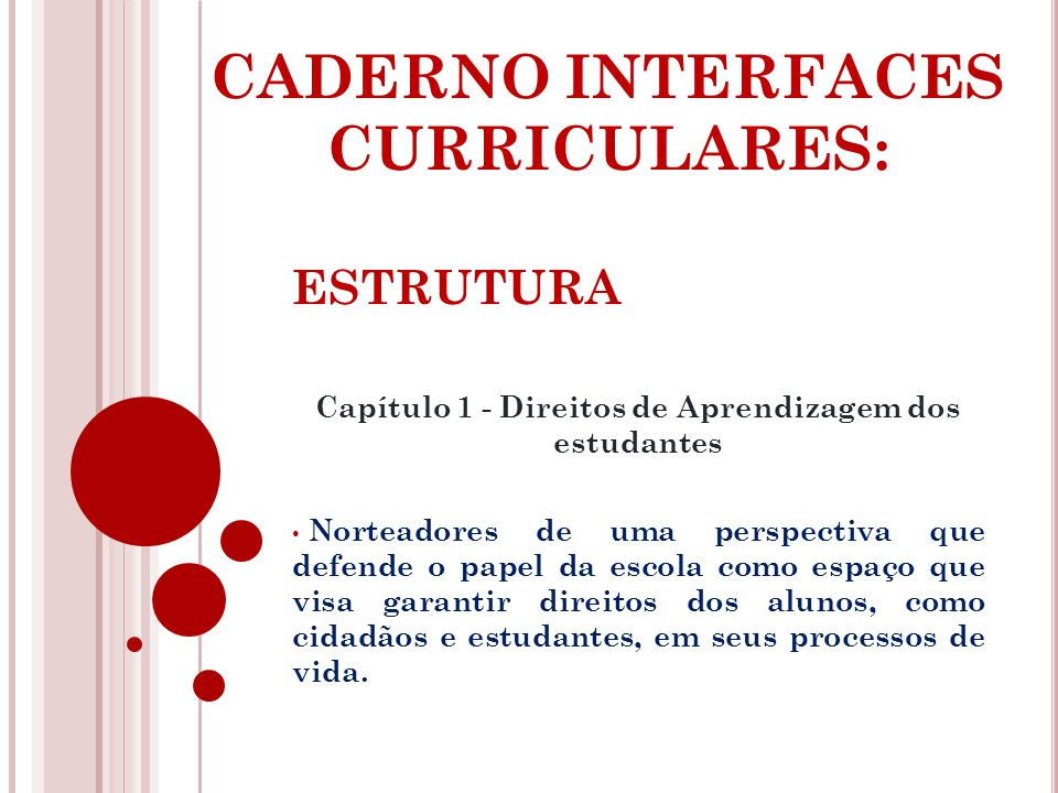 CADERNO INTERFACES CURRICULARES: ESTRUTURA Capítulo 1 - Direitos de Aprendizagem dos estudantes Norteadores de uma perspectiva que defende o papel da